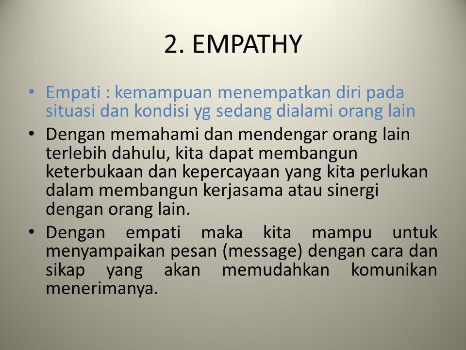 2. EMPATHY Empati : kemampuan menempatkan diri pada situasi dan kondisi yg sedang dialami orang lain Dengan memahami dan mendengar orang lain terlebih