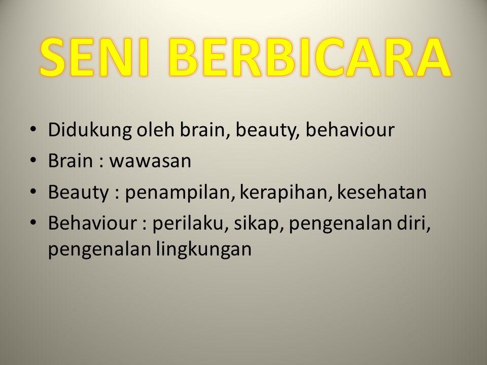 Didukung oleh brain, beauty, behaviour Brain : wawasan Beauty : penampilan, kerapihan, kesehatan Behaviour : perilaku, sikap, pengenalan diri, pengena