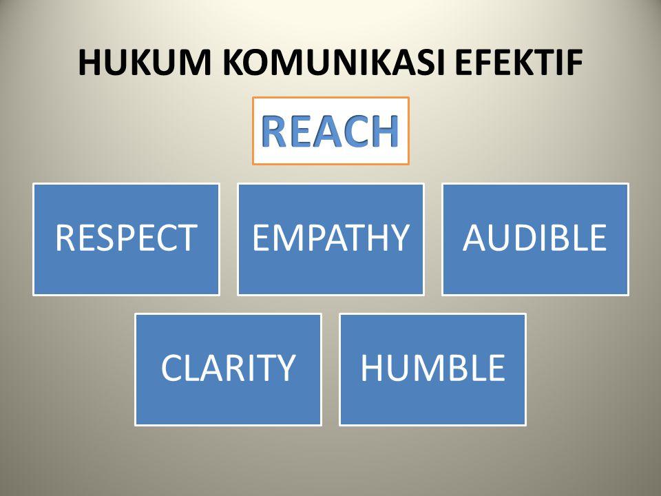1.RESPECT Respect : sikap menghargai komunikan Manusia menginginkan untuk dihargai dan dianggap penting  komunikasi akan efektif Dengan respect akan timbul antusiasme komunikan sehingga akan terjadi efek yang diinginkan oleh komunikator