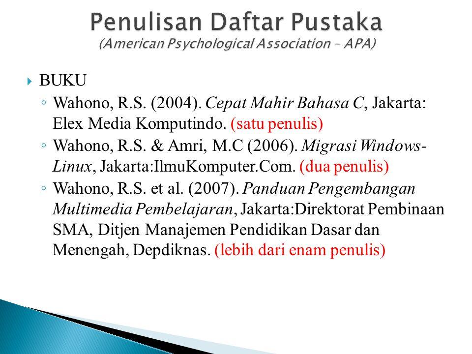  BUKU ◦ Wahono, R.S. (2004). Cepat Mahir Bahasa C, Jakarta: Elex Media Komputindo. (satu penulis) ◦ Wahono, R.S. & Amri, M.C (2006). Migrasi Windows-