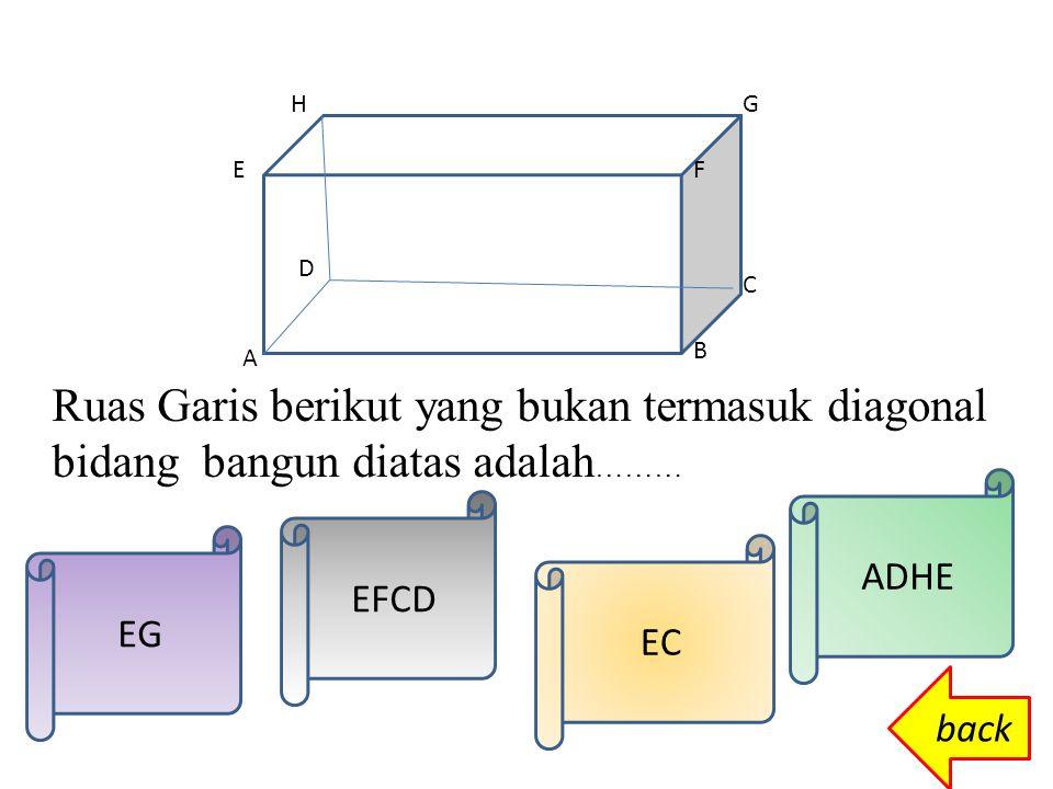 H DC A G B F E back Yang termasuk bidang diagonal kubus adalah.... ABFEABCDADHE BGHA