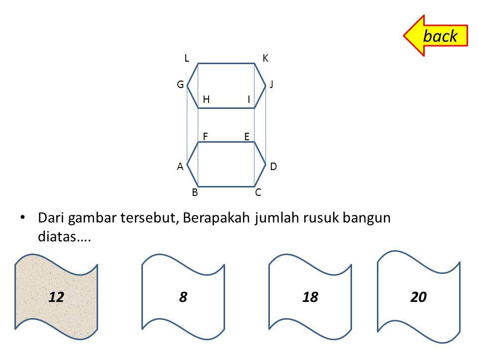 A B G D C E H F Ruas Garis berikut yang bukan termasuk diagonal bidang bangun diatas adalah ……… EG EFCD EC ADHE back