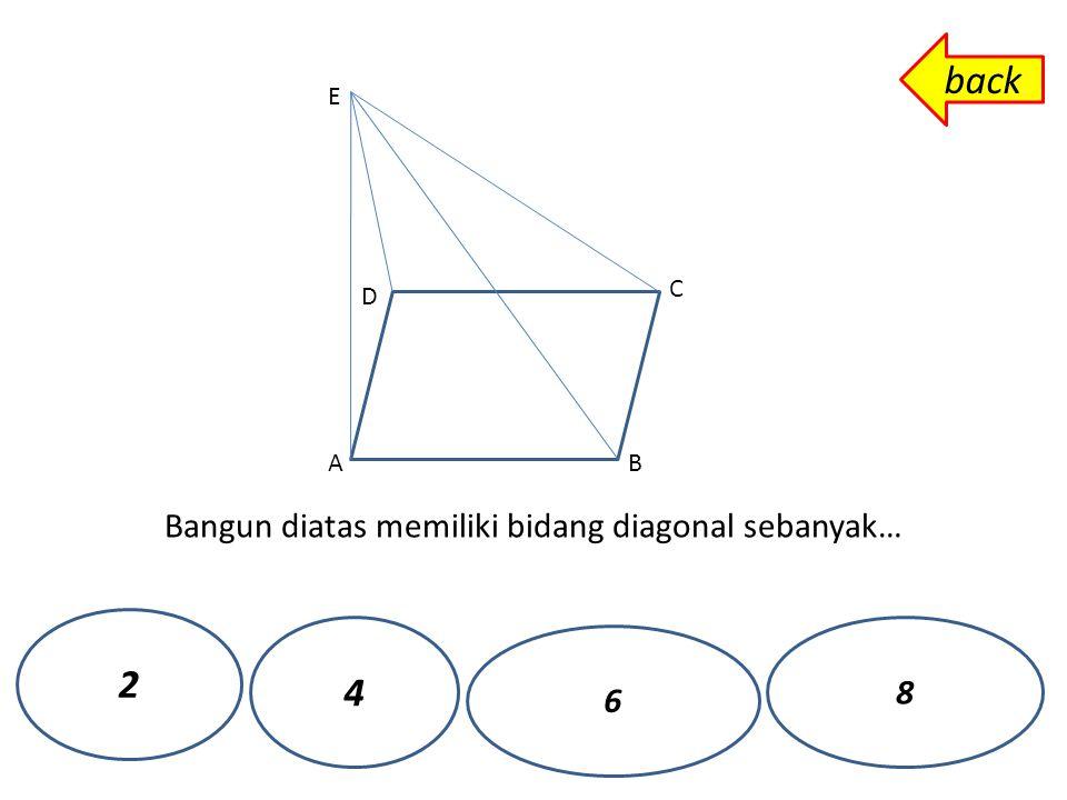 Bangun diatas memiliki bidang diagonal sebanyak… A D B C E 2 4 6 8 back