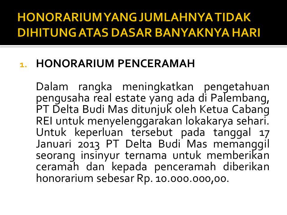 1. HONORARIUM PENCERAMAH Dalam rangka meningkatkan pengetahuan pengusaha real estate yang ada di Palembang, PT Delta Budi Mas ditunjuk oleh Ketua Caba
