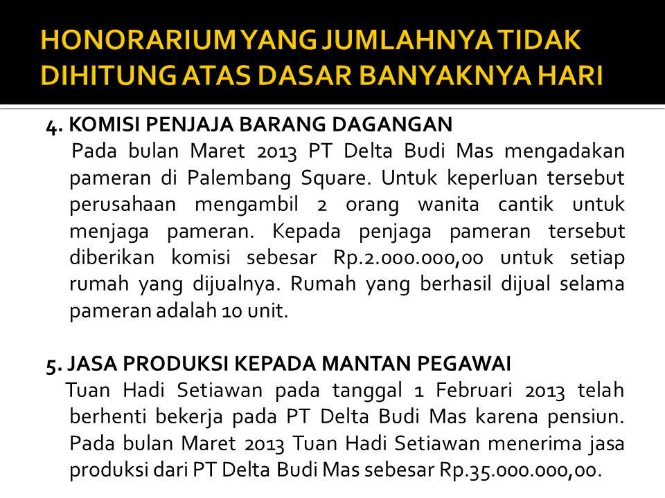 4. KOMISI PENJAJA BARANG DAGANGAN Pada bulan Maret 2013 PT Delta Budi Mas mengadakan pameran di Palembang Square. Untuk keperluan tersebut perusahaan