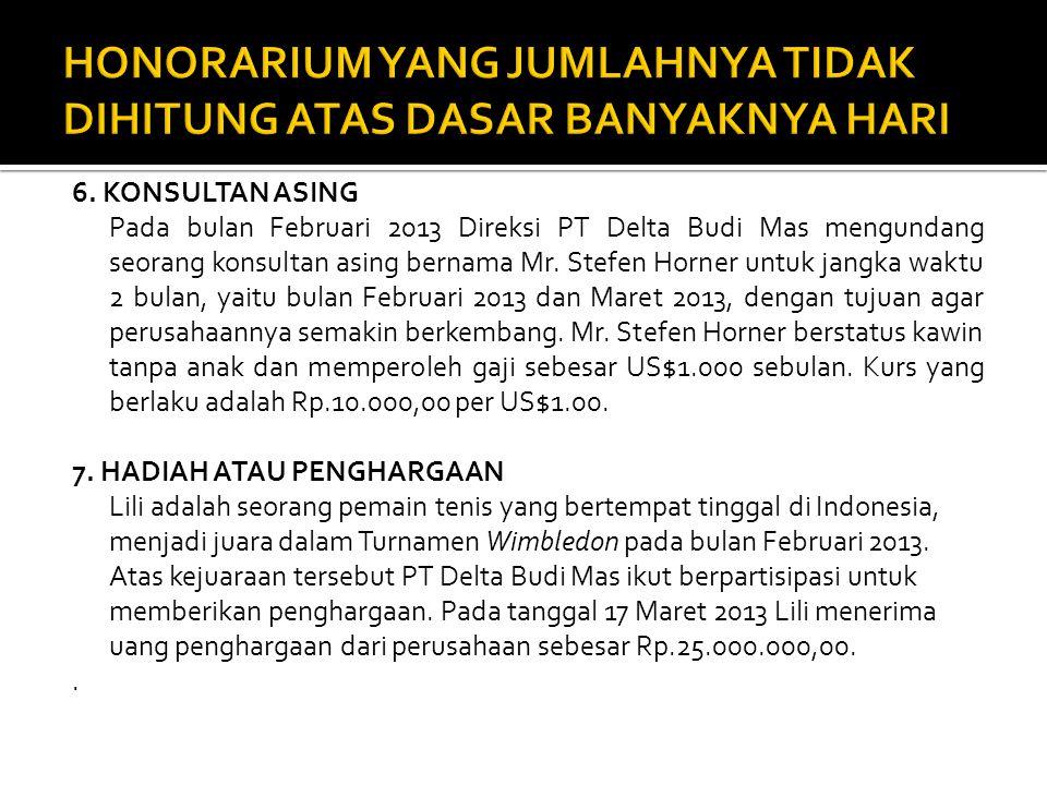 6. KONSULTAN ASING Pada bulan Februari 2013 Direksi PT Delta Budi Mas mengundang seorang konsultan asing bernama Mr. Stefen Horner untuk jangka waktu