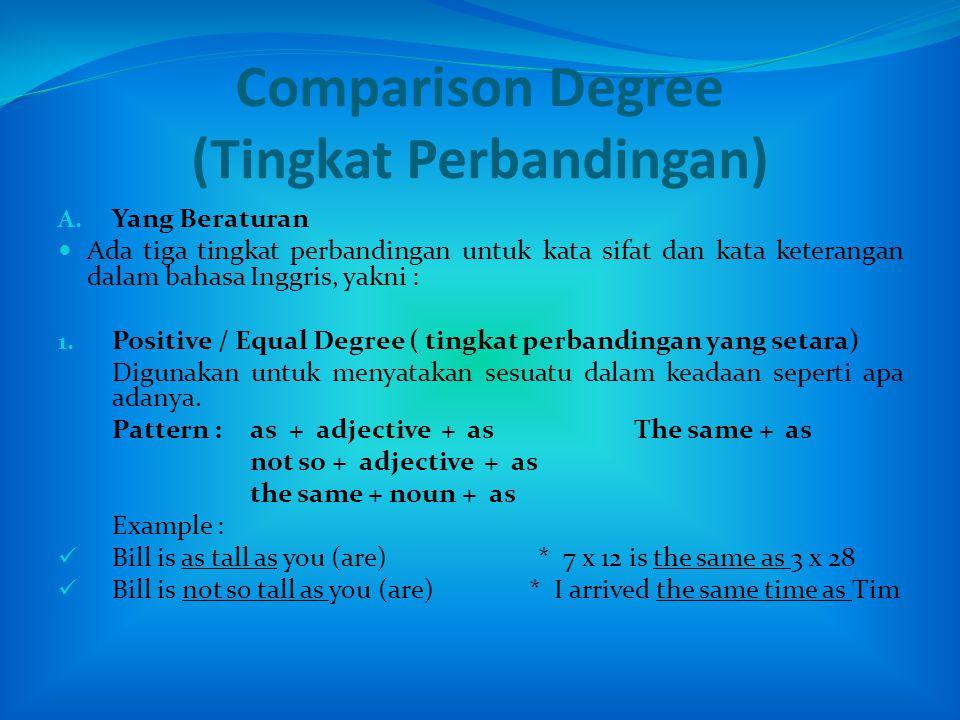 Comparison Degree (Tingkat Perbandingan) A.
