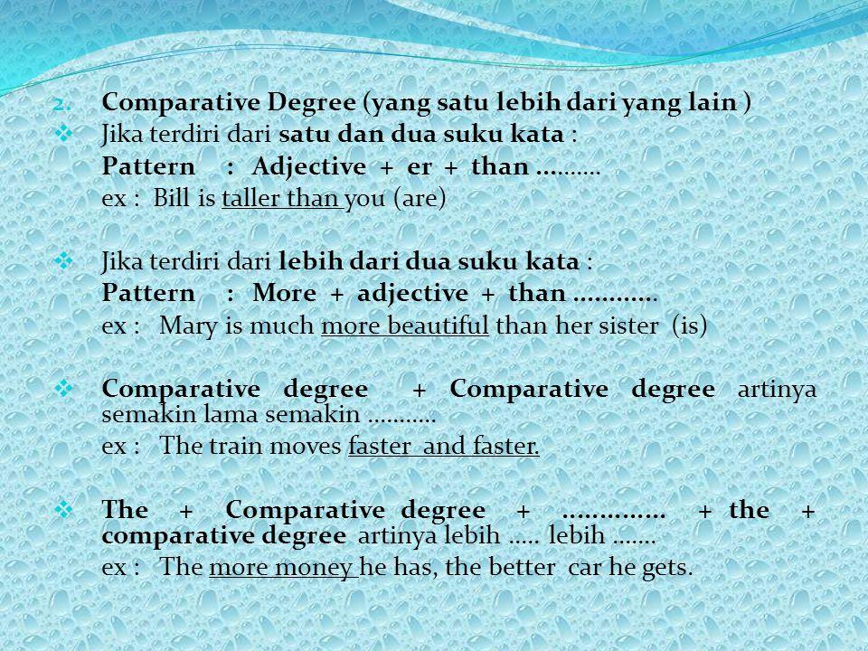 2. Comparative Degree (yang satu lebih dari yang lain )  Jika terdiri dari satu dan dua suku kata : Pattern : Adjective + er + than.......... ex : Bi