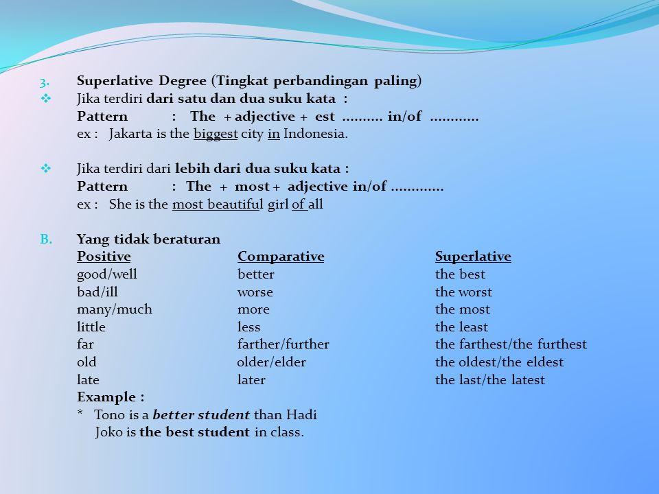 3. Superlative Degree (Tingkat perbandingan paling)  Jika terdiri dari satu dan dua suku kata : Pattern: The + adjective + est.......... in/of.......