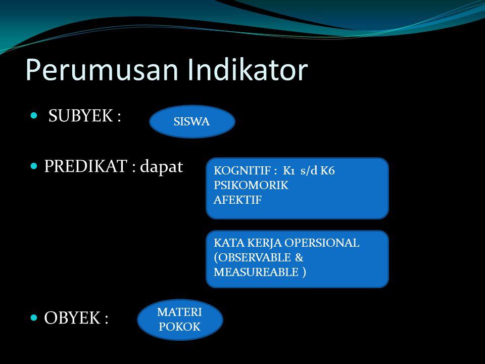 Perumusan Indikator SUBYEK : PREDIKAT : dapat OBYEK : KOGNITIF : K1 s/d K6 PSIKOMORIK AFEKTIF KATA KERJA OPERSIONAL (OBSERVABLE & MEASUREABLE ) SISWA