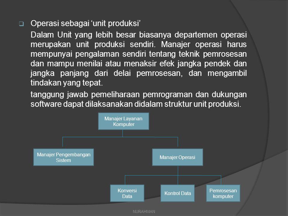  Operasi sebagai 'unit produksi' Dalam Unit yang lebih besar biasanya departemen operasi merupakan unit produksi sendiri. Manajer operasi harus mempu