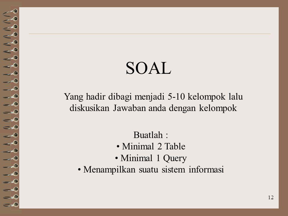 12 Yang hadir dibagi menjadi 5-10 kelompok lalu diskusikan Jawaban anda dengan kelompok SOAL Buatlah : Minimal 2 Table Minimal 1 Query Menampilkan suatu sistem informasi