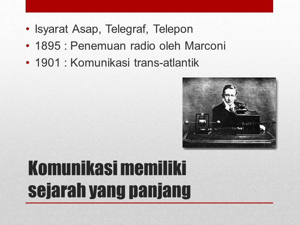 Komunikasi memiliki sejarah yang panjang Isyarat Asap, Telegraf, Telepon 1895 : Penemuan radio oleh Marconi 1901 : Komunikasi trans-atlantik