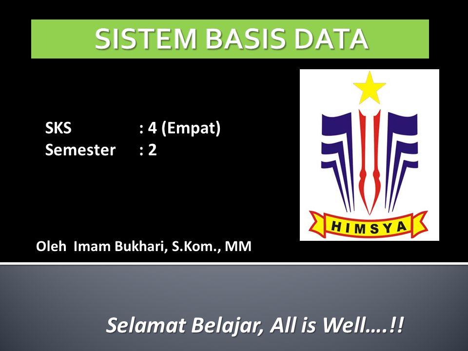 SKS: 4 (Empat) Semester: 2 Oleh Imam Bukhari, S.Kom., MM Selamat Belajar, All is Well….!!