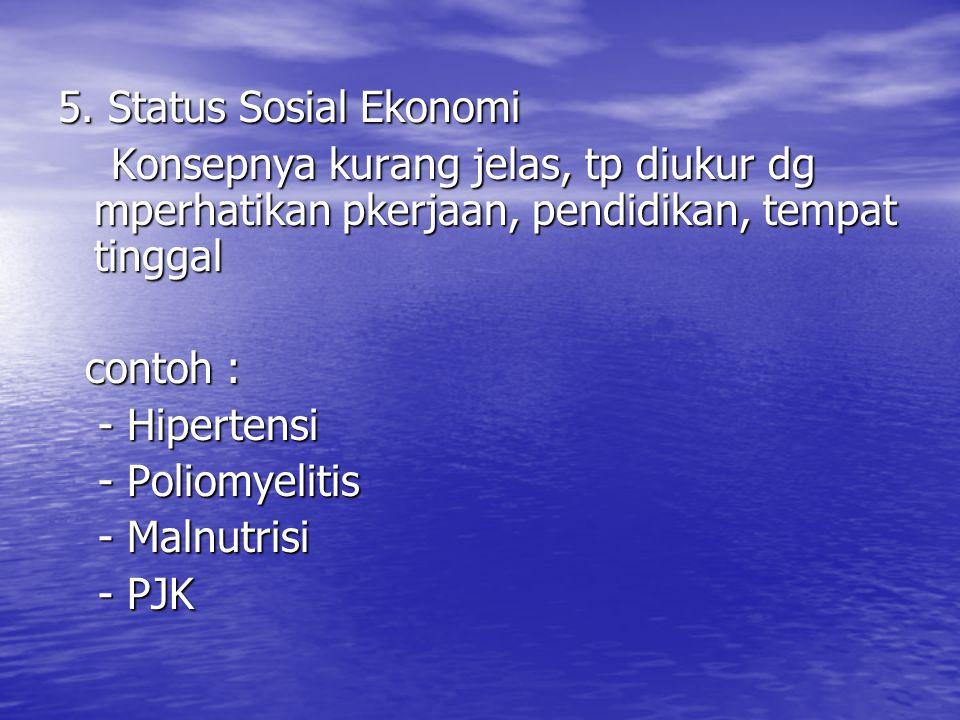 5. Status Sosial Ekonomi Konsepnya kurang jelas, tp diukur dg mperhatikan pkerjaan, pendidikan, tempat tinggal Konsepnya kurang jelas, tp diukur dg mp