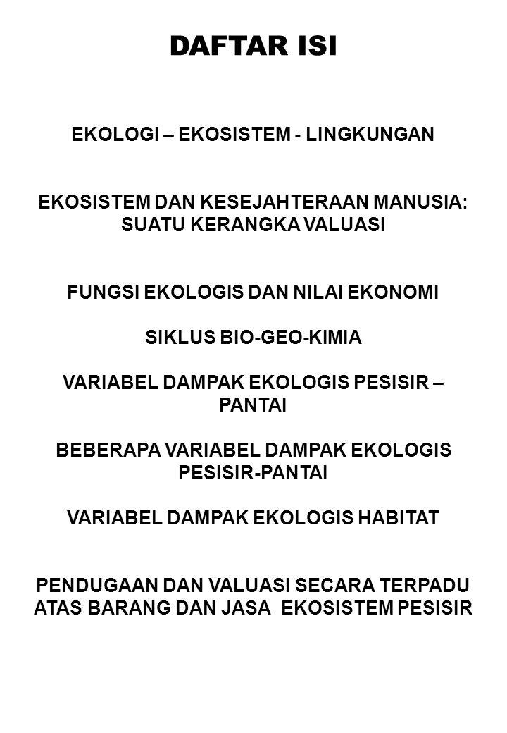 DAFTAR ISI EKOLOGI – EKOSISTEM - LINGKUNGAN EKOSISTEM DAN KESEJAHTERAAN MANUSIA: SUATU KERANGKA VALUASI FUNGSI EKOLOGIS DAN NILAI EKONOMI SIKLUS BIO-GEO-KIMIA VARIABEL DAMPAK EKOLOGIS PESISIR – PANTAI BEBERAPA VARIABEL DAMPAK EKOLOGIS PESISIR-PANTAI VARIABEL DAMPAK EKOLOGIS HABITAT PENDUGAAN DAN VALUASI SECARA TERPADU ATAS BARANG DAN JASA EKOSISTEM PESISIR