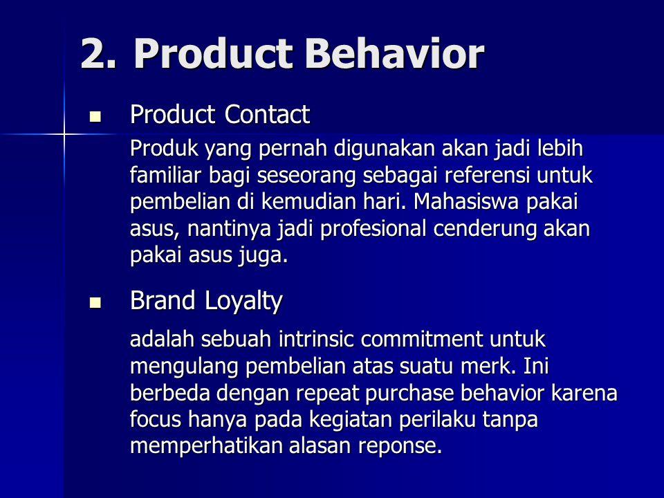 2.Product Behavior Product Contact Product Contact Produk yang pernah digunakan akan jadi lebih familiar bagi seseorang sebagai referensi untuk pembel
