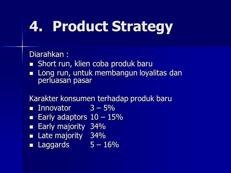 Diarahkan : Short run, klien coba produk baru Short run, klien coba produk baru Long run, untuk membangun loyalitas dan perluasan pasar Long run, untu