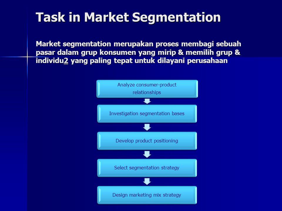 Task in Market Segmentation Market segmentation merupakan proses membagi sebuah pasar dalam grup konsumen yang mirip & memilih grup & individu2 yang p