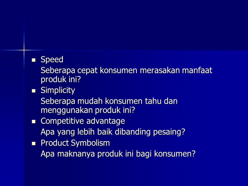 Speed Speed Seberapa cepat konsumen merasakan manfaat produk ini? Simplicity Simplicity Seberapa mudah konsumen tahu dan menggunakan produk ini? Compe
