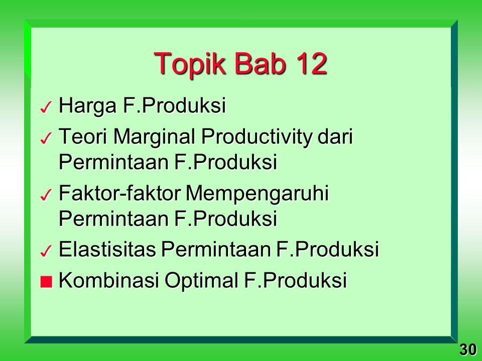 30 Topik Bab 12 3 Harga F.Produksi 3 Teori Marginal Productivity dari Permintaan F.Produksi 3 Faktor-faktor Mempengaruhi Permintaan F.Produksi 3 Elast