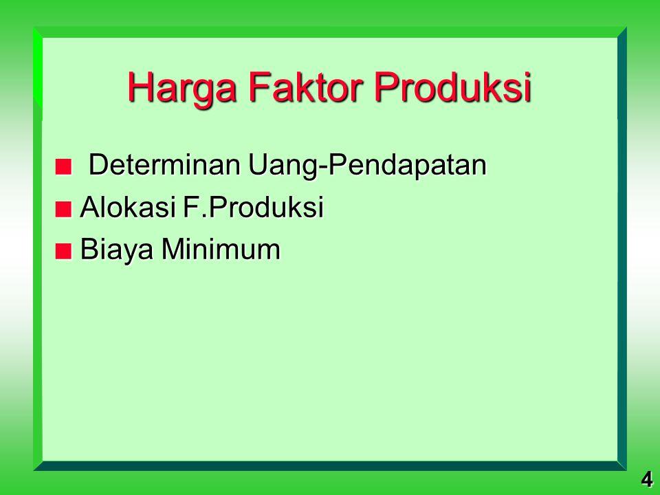 4 Harga Faktor Produksi n Determinan Uang-Pendapatan n Alokasi F.Produksi n Biaya Minimum