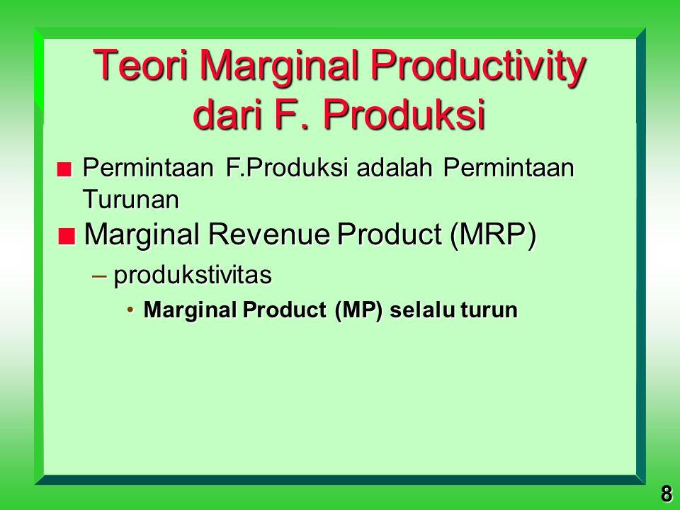 8 Teori Marginal Productivity dari F. Produksi n Marginal Revenue Product (MRP) –produkstivitas Marginal Product (MP) selalu turunMarginal Product (MP