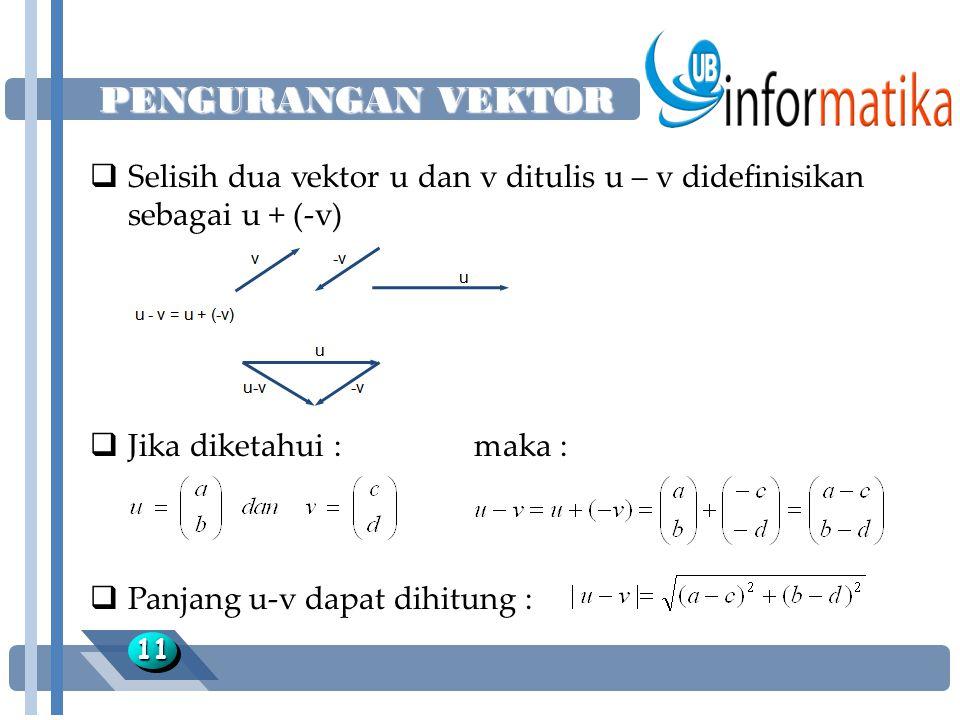 PENGURANGAN VEKTOR 1111  Selisih dua vektor u dan v ditulis u – v didefinisikan sebagai u + (-v)  Jika diketahui :maka :  Panjang u-v dapat dihitun