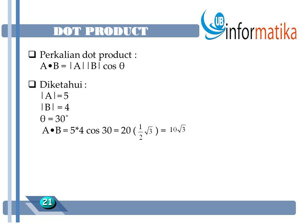 DOT PRODUCT 2121  Perkalian dot product : AB = |A||B| cos θ  Diketahui : |A|= 5 |B| = 4 θ = 30˚ AB = 5*4 cos 30 = 20 ( ) =