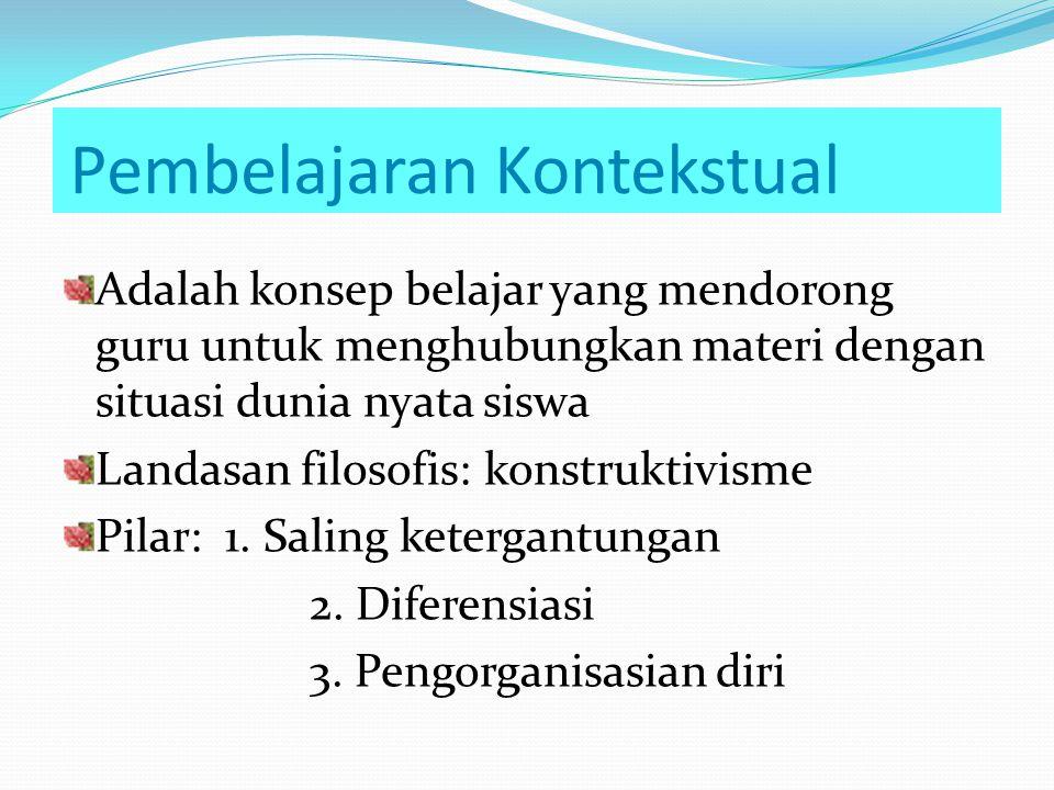 I. Pembelajaran Kontekstual 1. Konsep Pembelajaran yang mendorong guru untukmenghubungkan antara materi dengan situasi nyata siswa (students based- si