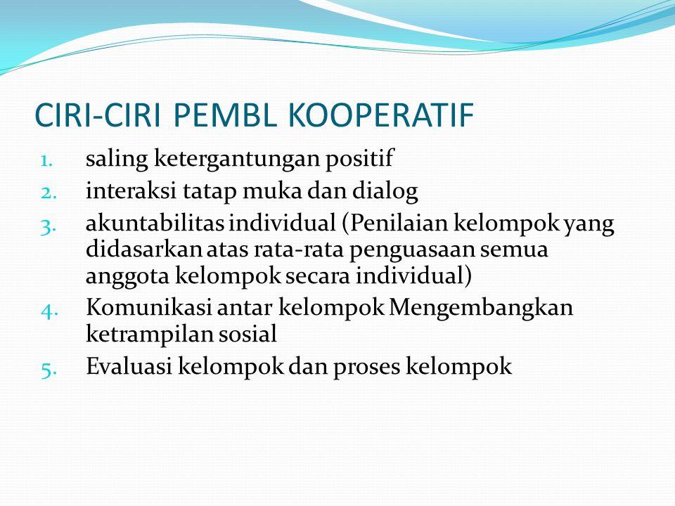 II. Pembelajaran Kooperatif 1. Adalah PP yg berfokus pada penggunaan kelompok kecil untuk bekerjasama 2. Elemennya: 1) Saling ketergantungan positif 2