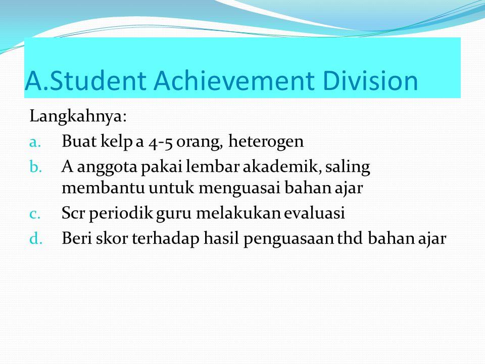 Teknik Kooperatif A. STAD (Student Achievement Division) B. Jigsaw C. Group Investigation D. Struktural 1) Mencari Pasangan 2) Bertukar Pasangan 3) Be