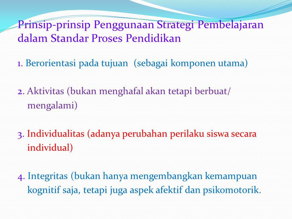 Pertimbangan Pemilihan Strategi Pembelajaran 1. tujuan - berkenaan dg. aspek kognitif, afektif, atau psikomotorik - kompleksitas tujuan: tingkat tingg