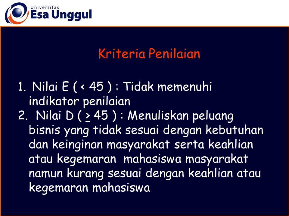 1.Nilai E ( < 45 ) : Tidak memenuhi indikator penilaian 2.