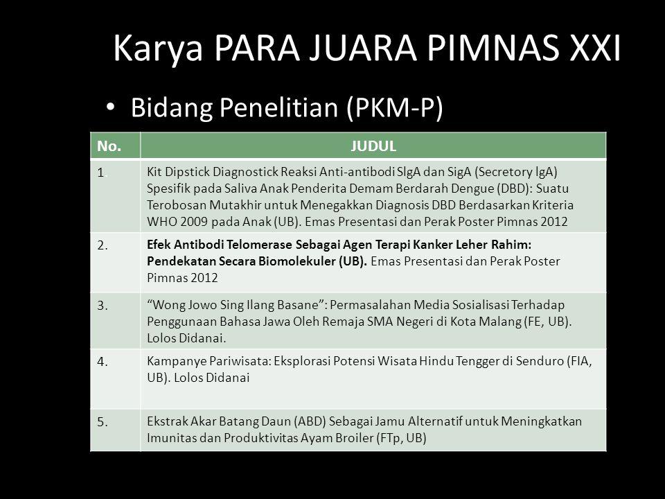 Bidang Penelitian (PKM-P) Karya PARA JUARA PIMNAS XXI No.JUDUL 1.1. Kit Dipstick Diagnostick Reaksi Anti-antibodi SlgA dan SigA (Secretory lgA) Spesif