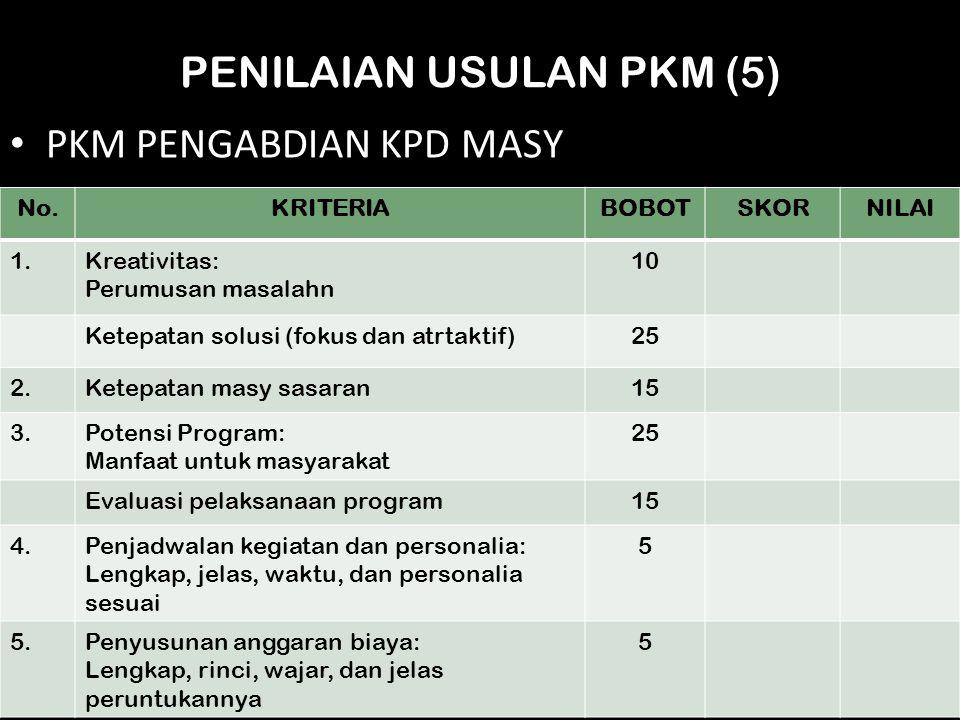 PENILAIAN USULAN PKM (5) PKM PENGABDIAN KPD MASY No.KRITERIABOBOTSKORNILAI 1.Kreativitas: Perumusan masalahn 10 Ketepatan solusi (fokus dan atrtaktif)