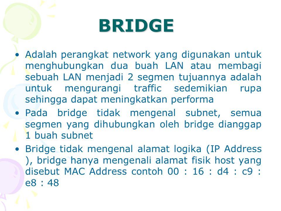 BRIDGE Adalah perangkat network yang digunakan untuk menghubungkan dua buah LAN atau membagi sebuah LAN menjadi 2 segmen tujuannya adalah untuk mengur