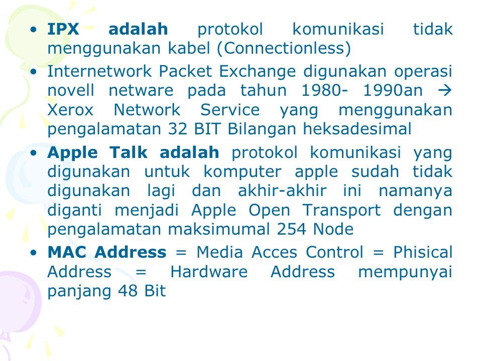 IPX adalah protokol komunikasi tidak menggunakan kabel (Connectionless) Internetwork Packet Exchange digunakan operasi novell netware pada tahun 1980-