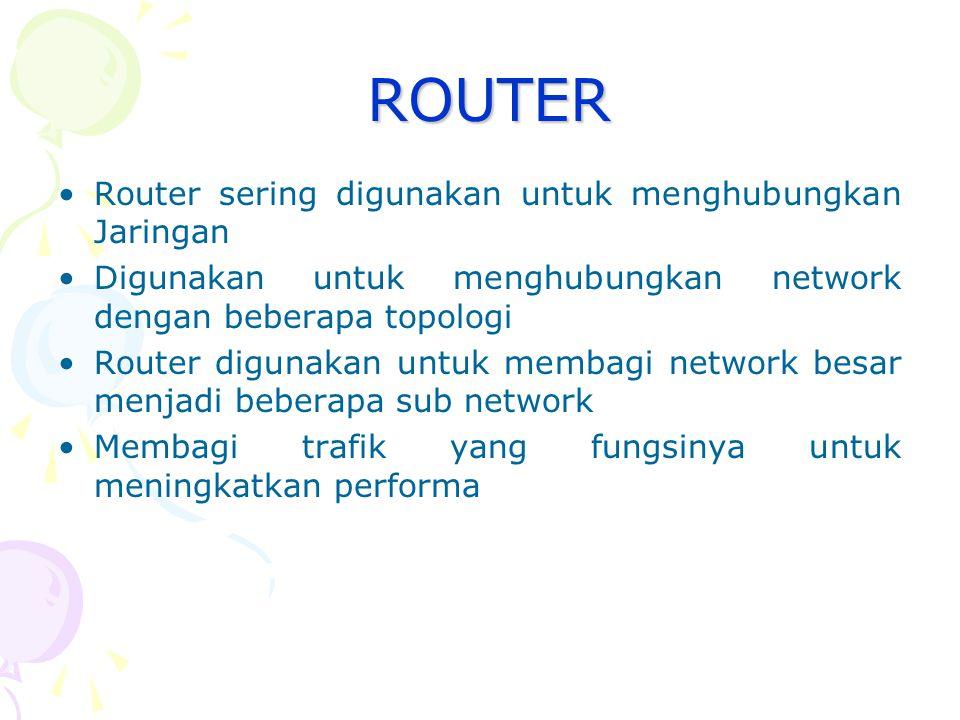 Bridge Berdasarkan Teknologi Network Transparent Bridging : jenis bridge yang digunakan pada network ethernet Source-route Bridging : jenis bridge yang digunakan pada network token ring Translational Bridging : digunakan untuk menghubungkan network yang berbeda teknologi, misalkan menghubungkan network token ring dengan network ethernet