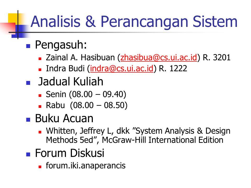 Analisis & Perancangan Sistem Pengasuh: Zainal A. Hasibuan (zhasibua@cs.ui.ac.id) R. 3201zhasibua@cs.ui.ac.id Indra Budi (indra@cs.ui.ac.id) R. 1222in