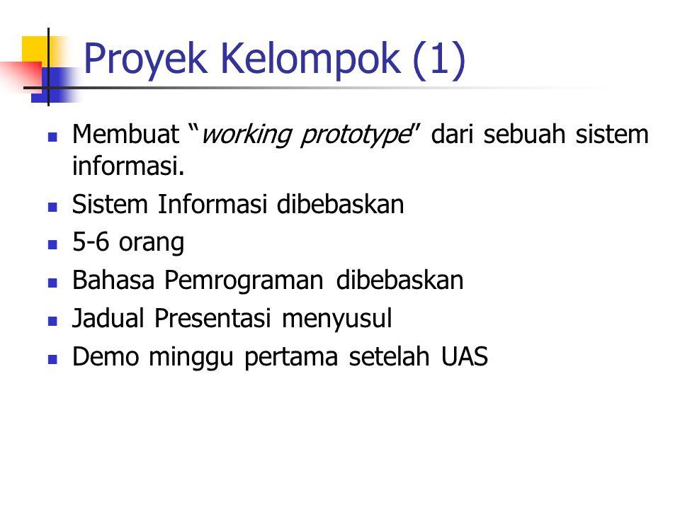 """Proyek Kelompok (1) Membuat """"working prototype"""" dari sebuah sistem informasi. Sistem Informasi dibebaskan 5-6 orang Bahasa Pemrograman dibebaskan Jadu"""