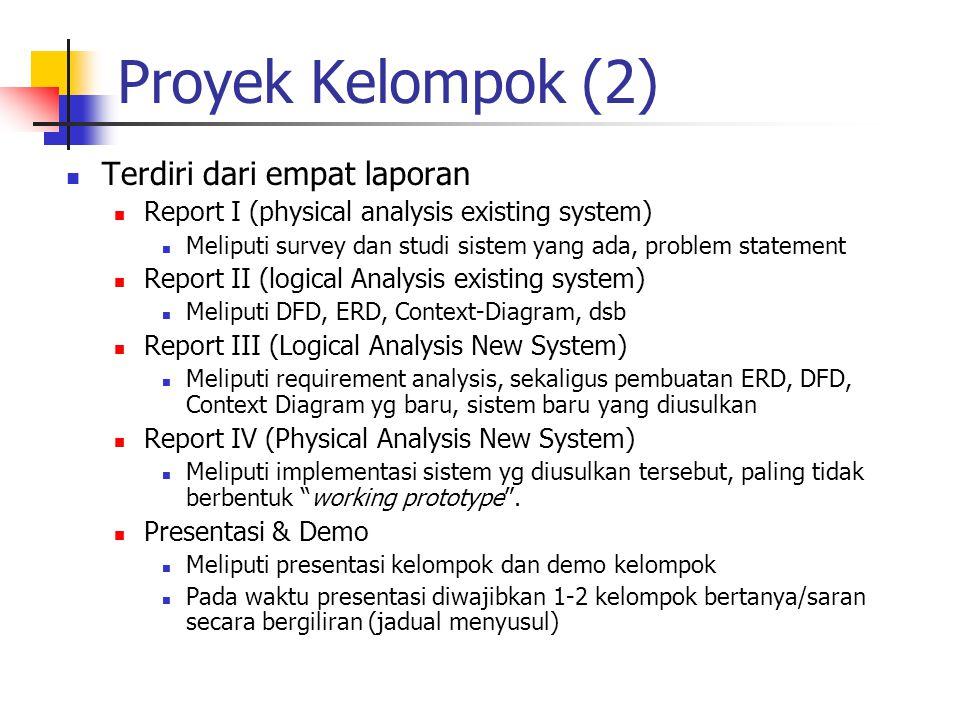 Proyek Kelompok (2) Terdiri dari empat laporan Report I (physical analysis existing system) Meliputi survey dan studi sistem yang ada, problem stateme