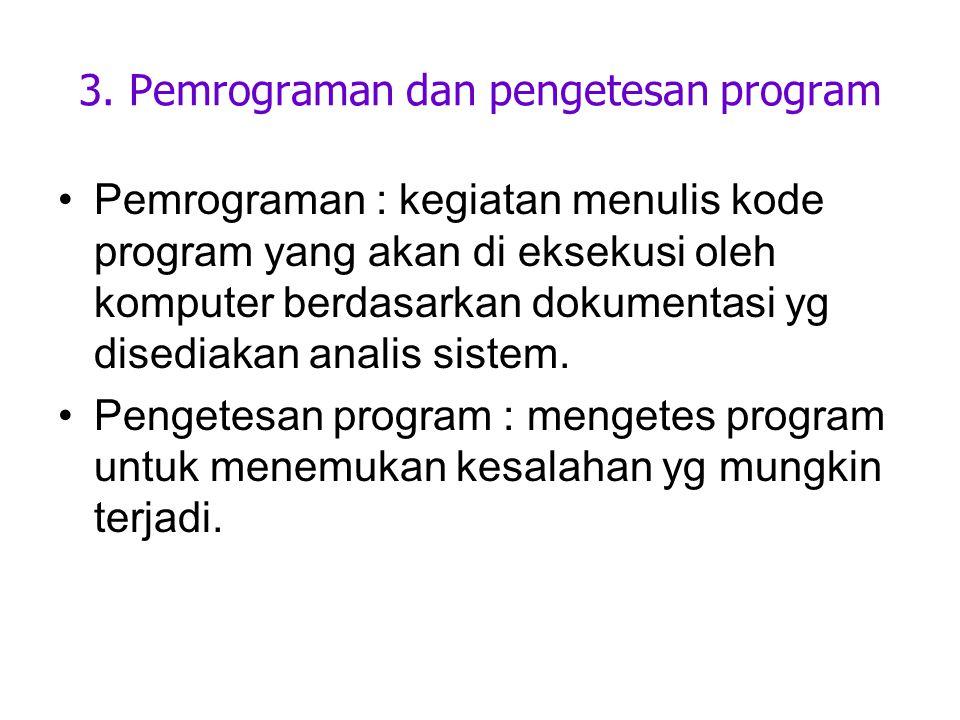3. Pemrograman dan pengetesan program Pemrograman : kegiatan menulis kode program yang akan di eksekusi oleh komputer berdasarkan dokumentasi yg dised