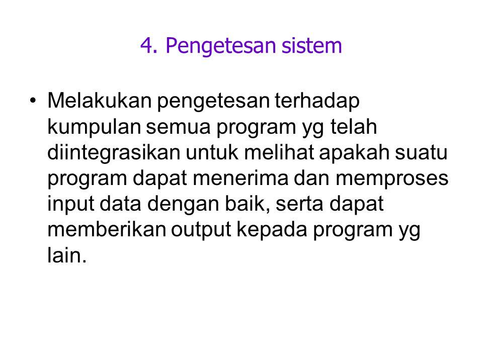 4. Pengetesan sistem Melakukan pengetesan terhadap kumpulan semua program yg telah diintegrasikan untuk melihat apakah suatu program dapat menerima da