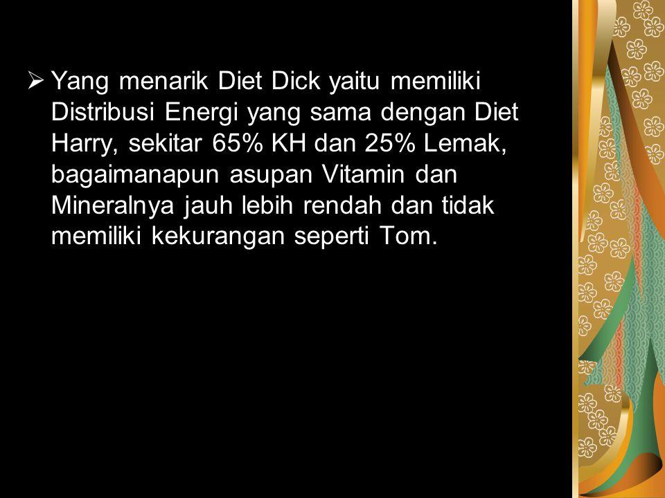  Yang menarik Diet Dick yaitu memiliki Distribusi Energi yang sama dengan Diet Harry, sekitar 65% KH dan 25% Lemak, bagaimanapun asupan Vitamin dan M