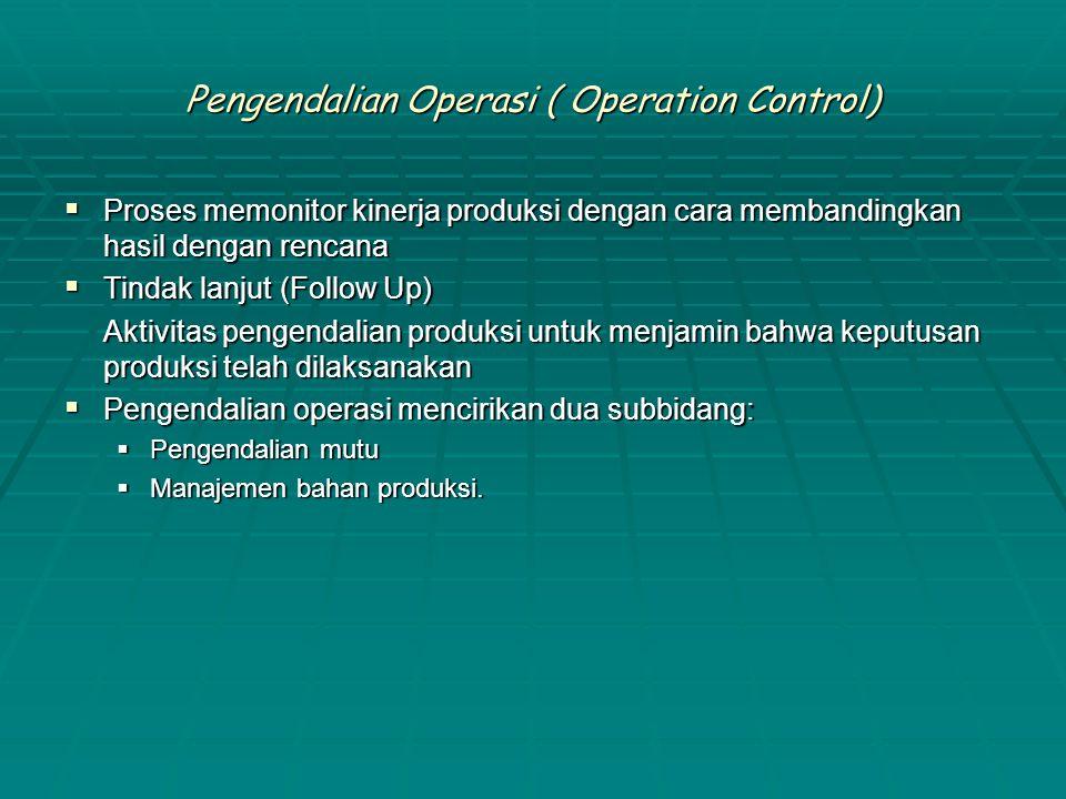 Pengendalian Operasi ( Operation Control)  Proses memonitor kinerja produksi dengan cara membandingkan hasil dengan rencana  Tindak lanjut (Follow U