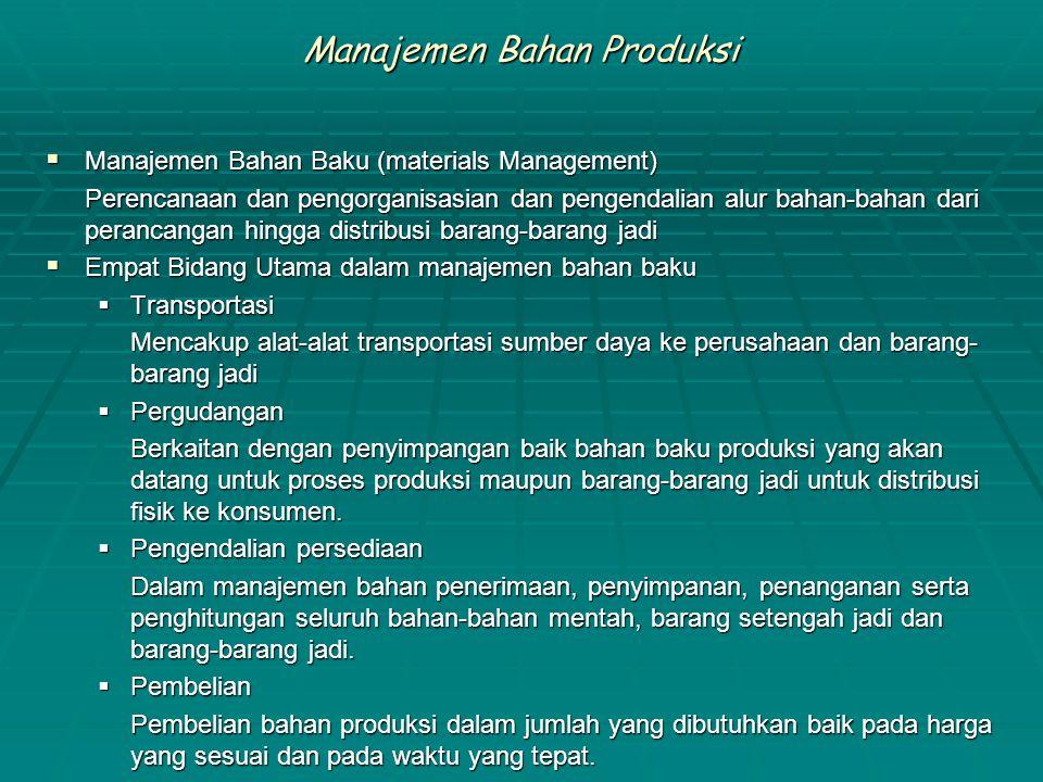 Manajemen Bahan Produksi  Manajemen Bahan Baku (materials Management) Perencanaan dan pengorganisasian dan pengendalian alur bahan-bahan dari peranca