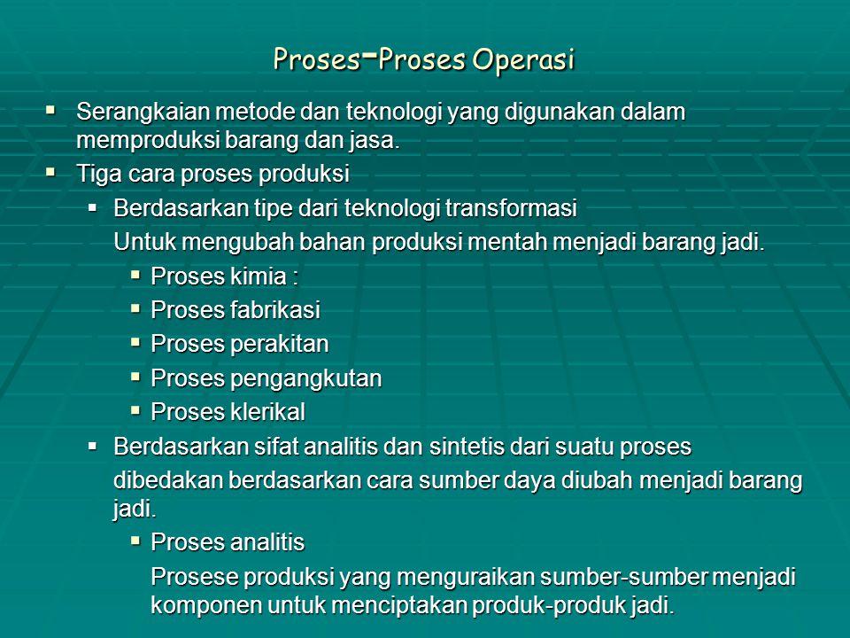 Proses - Proses Operasi  Serangkaian metode dan teknologi yang digunakan dalam memproduksi barang dan jasa.  Tiga cara proses produksi  Berdasarkan