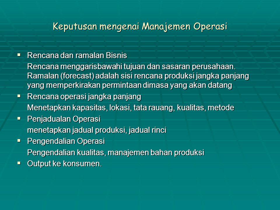 Keputusan mengenai Manajemen Operasi  Rencana dan ramalan Bisnis Rencana menggarisbawahi tujuan dan sasaran perusahaan. Ramalan (forecast) adalah sis