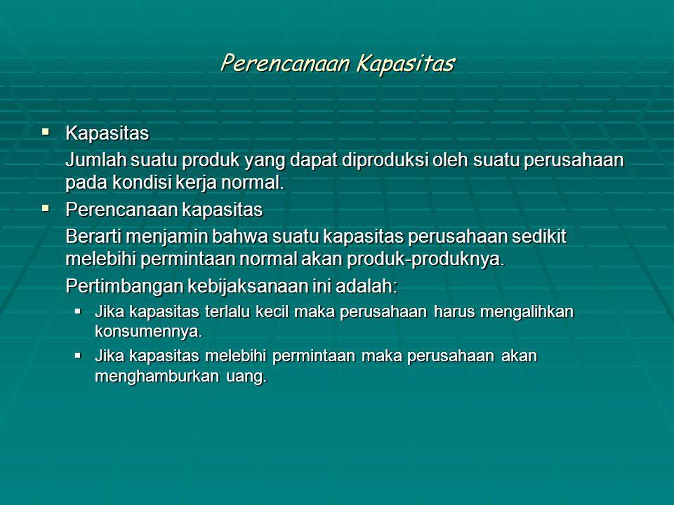 Perencanaan Kapasitas  Kapasitas Jumlah suatu produk yang dapat diproduksi oleh suatu perusahaan pada kondisi kerja normal.  Perencanaan kapasitas B